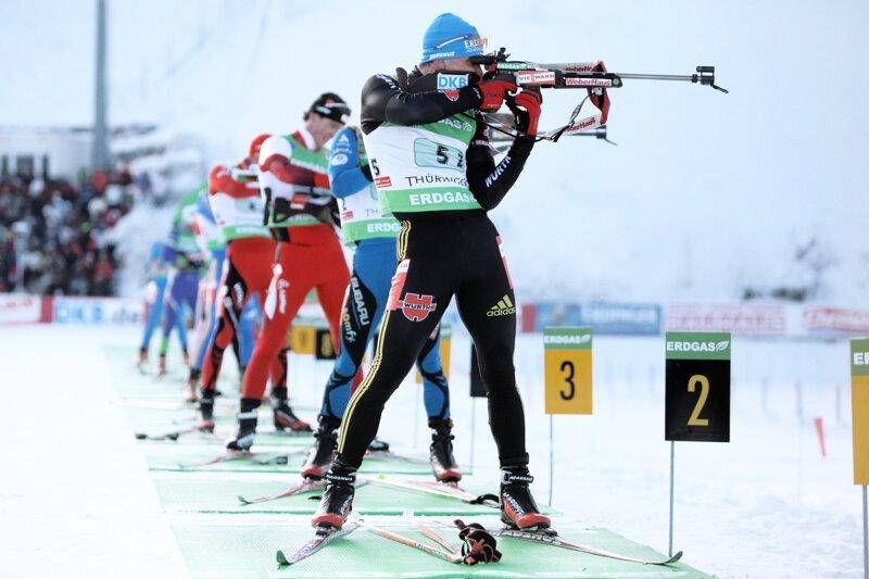 Oberhof Biathlon, Männer am Schießstand