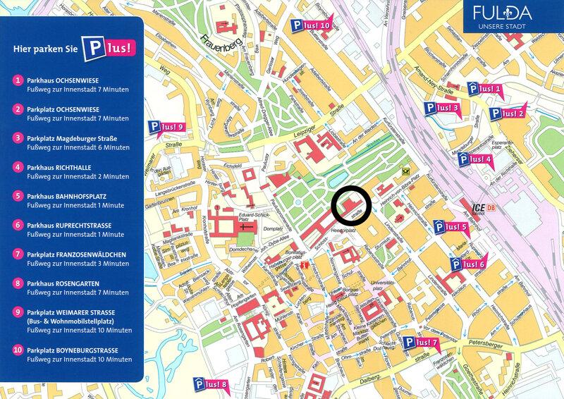Karte von Fulda, mit den Parkmöglichkeiten der Stadt