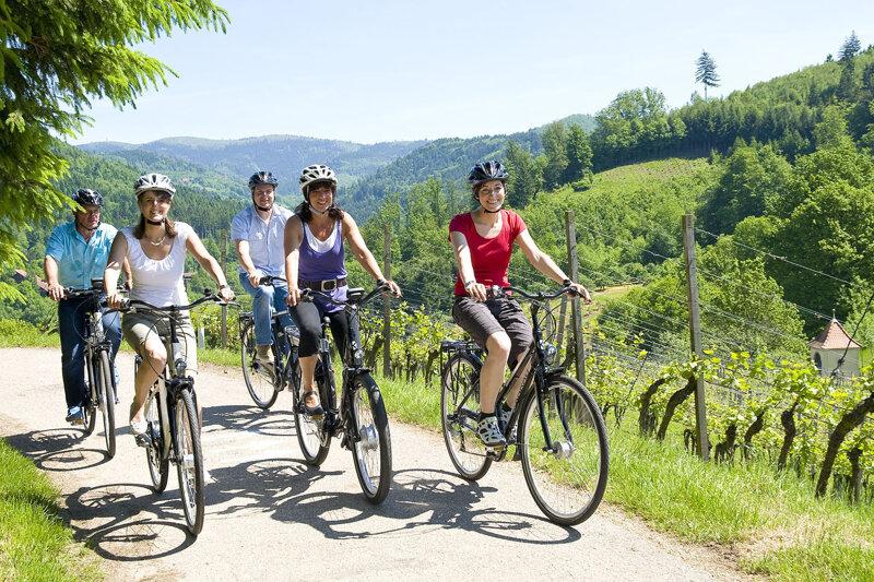 Fahrradfahrer auf dem Naturpark-Radweg im Schwarzwald