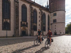 Elberadweg Wittenberg Schlosskirche QF TVSSW Felix Meyer caa CC BY NC 4 0