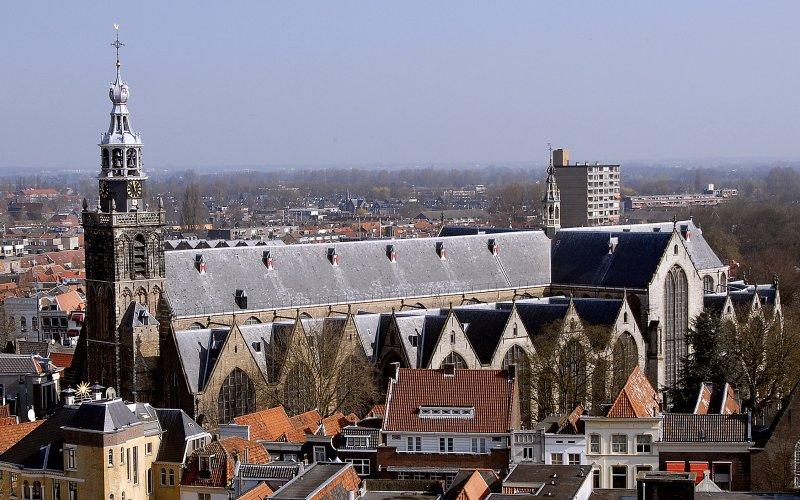 Gouda Luftbild mit Sint-Janskirche
