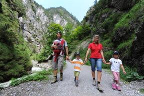 Familie auf dem Wanderweg