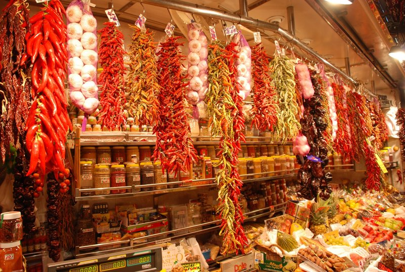 Marktstand in Barcelonas La Boqueria