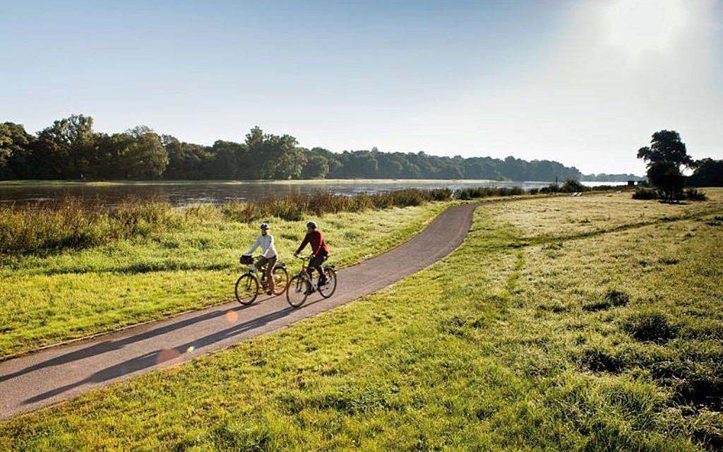 Pärchen beim Radeln auf dem Elberadweg in Sachsen-Anhalt
