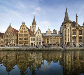 Graslei-Panorama in Gent/Belgien