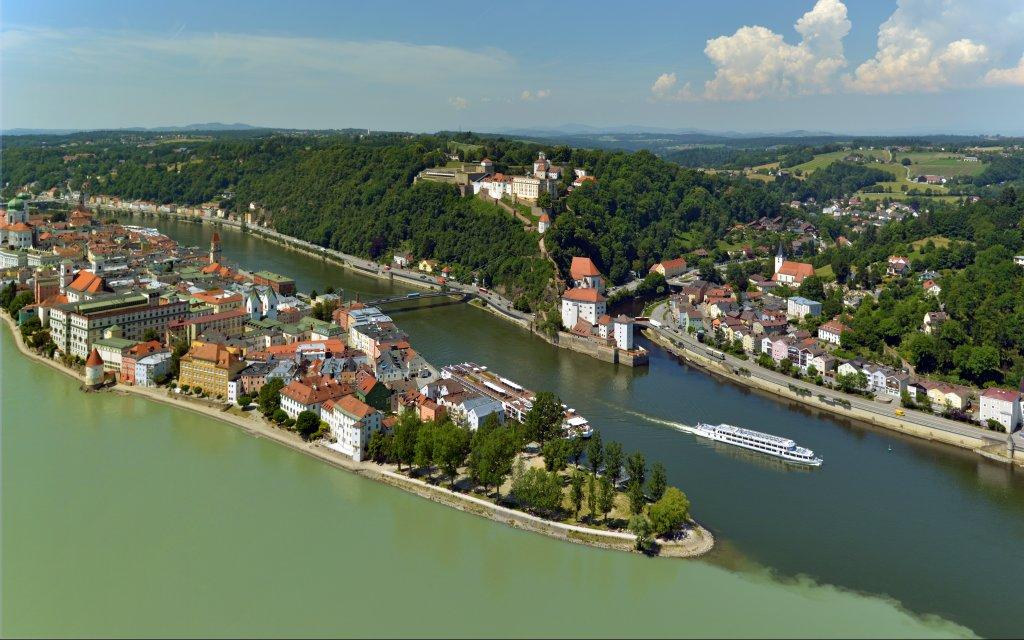 Drei Flüsse Eck Passau in Niederbayern