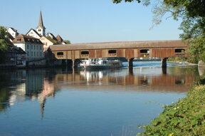 Holzbrücke über den Rhein bei Singen