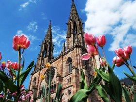 Kirche hinter Blumen c Office du Tourisme Obernai