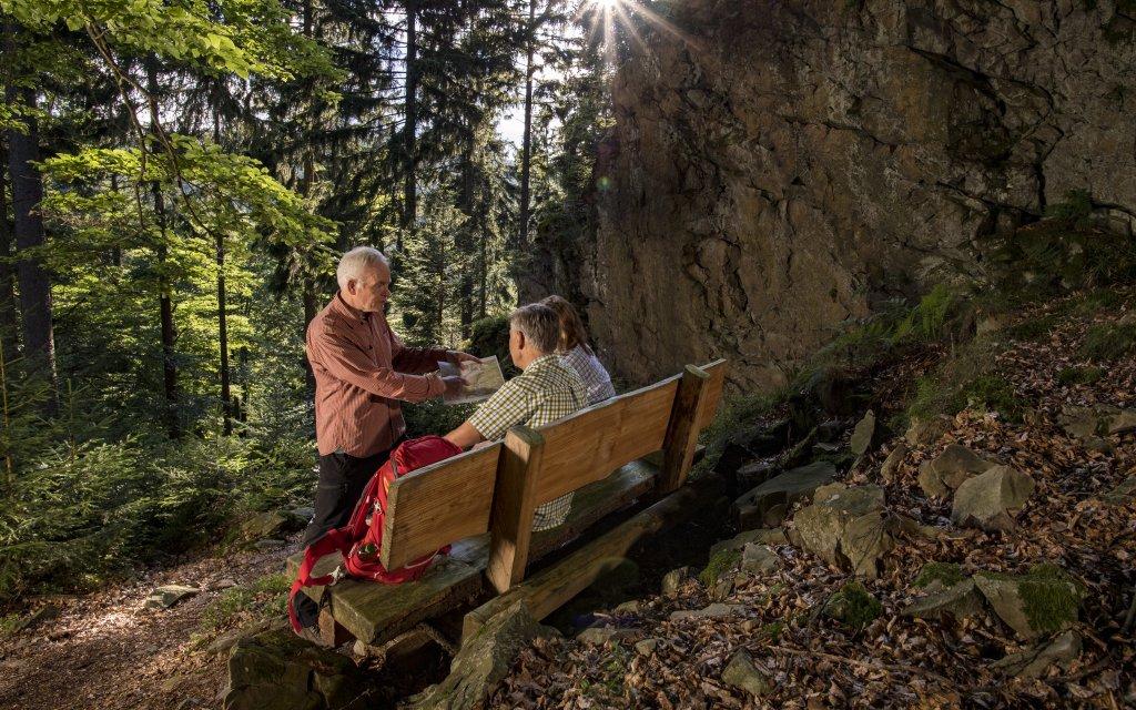 Drei Wanderer am Berleburger Schieferpfad im Sauerland