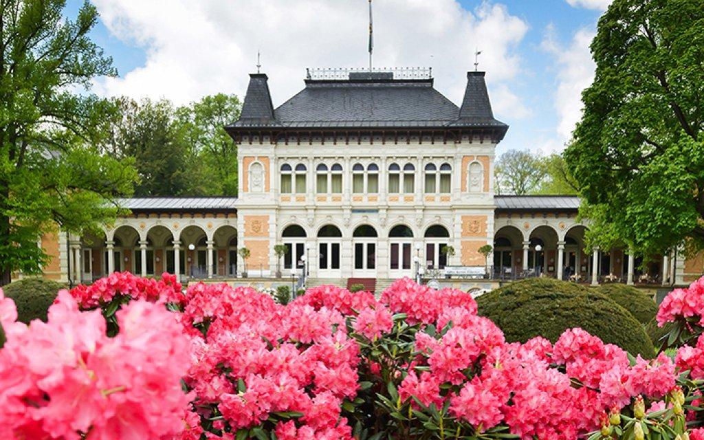 SSB-Königliches Kurhaus Bad Elster mit Rhododendren