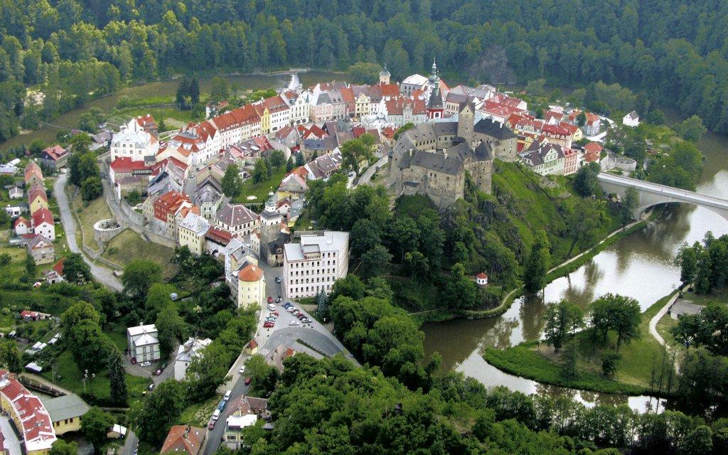 Luftbild Loket in Tschechien