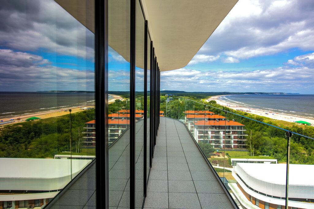 Swinemünde Radisson Blu Zimmerausblick Strand Wolken Balkon
