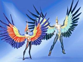 Extravagante und farbenprächtige Kostüme in der Grand Show VIVID.