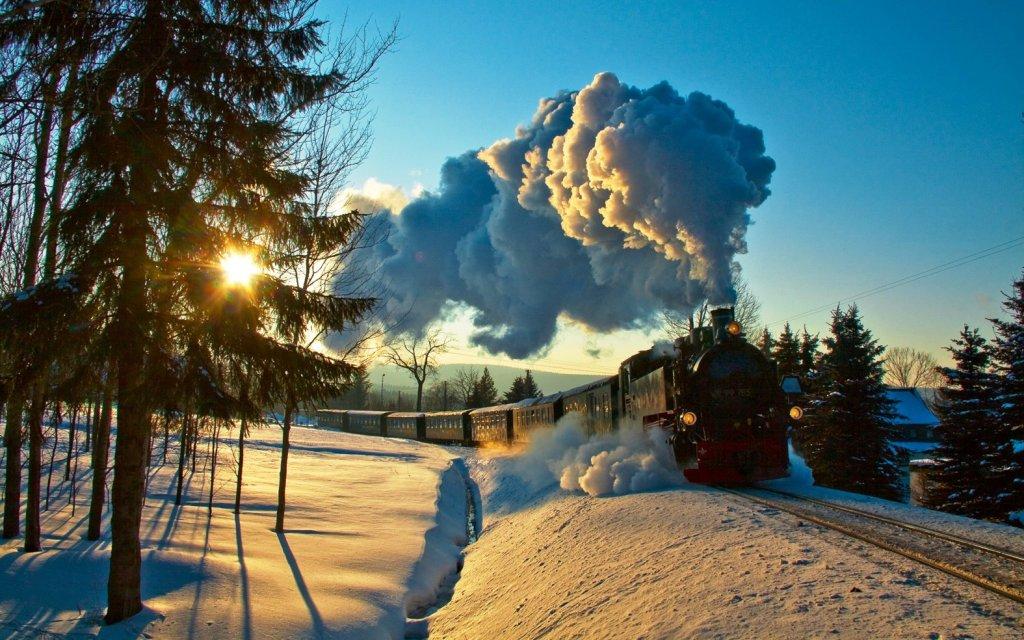 Fichtelbergbahn im Schnee