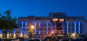 Außenansicht Sympathie -Hotel Fürstenhof bei Nacht