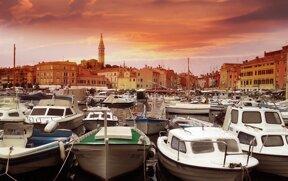 Rovinj Hafen Sonnenuntergang ohne c pixabay