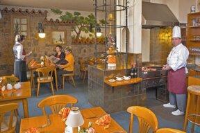 Grillrestaurant mit altem Wandbild