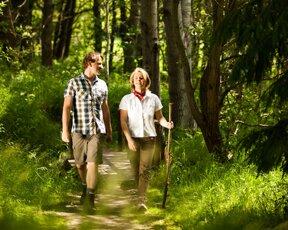 Wanderer im Nadelwald 2©Jens Hauspurg , Thüringer Tourismusverband Jena-Saale-Holzland e.V.