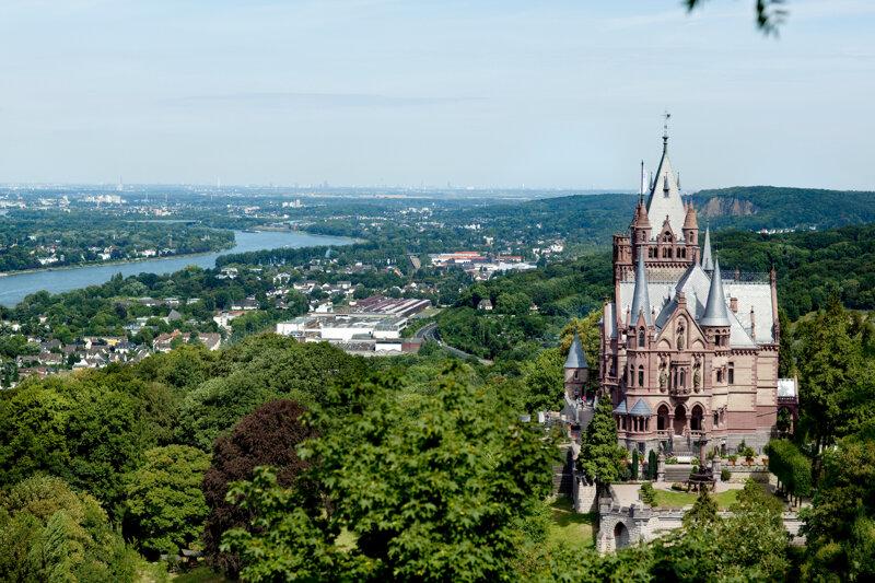 Schloss Drachenburg, Sommer, Wald, Himmel, Burg